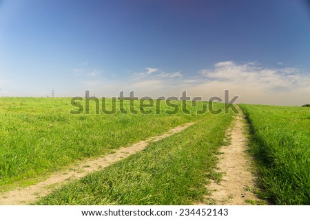 On a Country Lane Fields of Sunlight  - stock photo