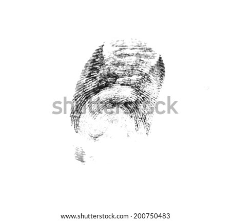 On a photo fingerprint isolated on white - stock photo