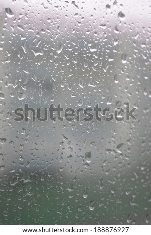 On a summer raining day. Drops of water on the window. Shallow DOF  - stock photo