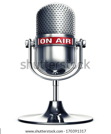 on air microphone - stock photo