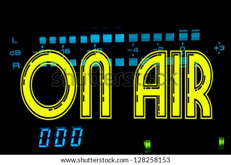 On Air sign in recording studio - stock photo