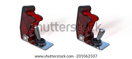 On and off position with red cover switches isolated on white - stock photo