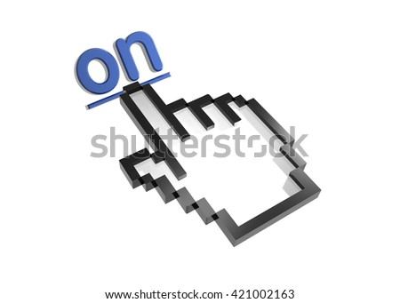 on. 3d rendered inscription. Link and finger, pointer. Isolated on white - stock photo