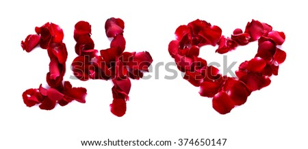 On February 14th of this month is the day of love, for love is written with rose petals. White background. - stock photo