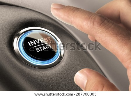 On finger about to press an invest button, financial concept for investment or decision making - stock photo
