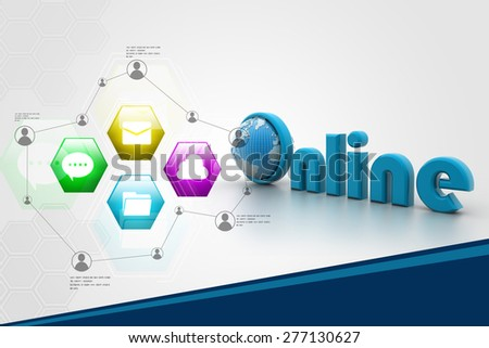On-line illustration with globe.  - stock photo