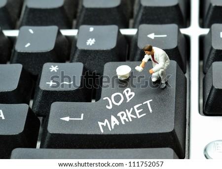 On line job market concept on keyboard enter return button - stock photo