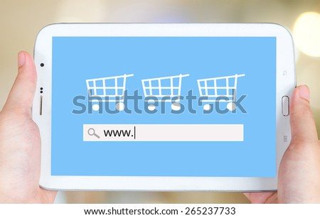 On line shopping on tablet screen, business, E-commerce,  technology and digital marketing background - stock photo