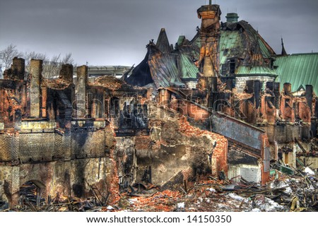 On March 4th 2008, a fire gutted the Quebec City Armoury. This is a pseudo-HDR image crated from a single RAW file. - stock photo