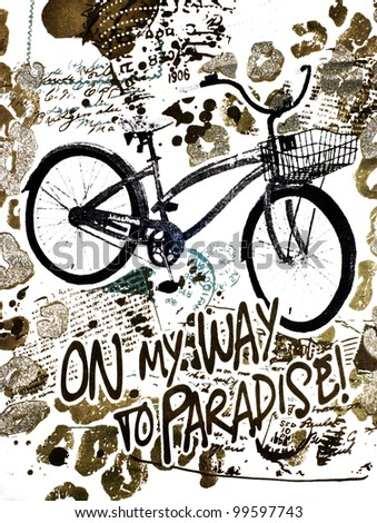 On my way to paradise by bicycle - illustration - stock photo