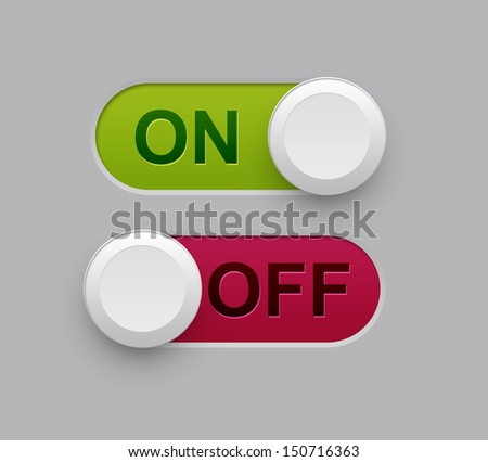 on off illustration with gray as background. - stock photo