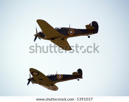 On patrol ww2 aircraft dominate the sky - stock photo