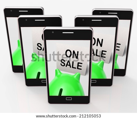On Sale Piggy Bank Meaning Special Promo And Reduced Price - stock photo