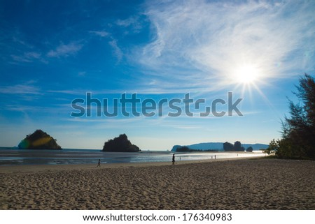 On The Beach and Andaman Sunset. - stock photo