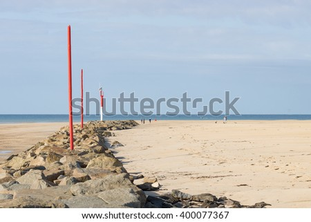 on the Beach of Portbail, France, Normandy at low tide - stock photo