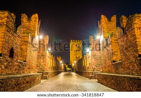 On the CastelVecchio Bridge in Verona - Italy - stock photo