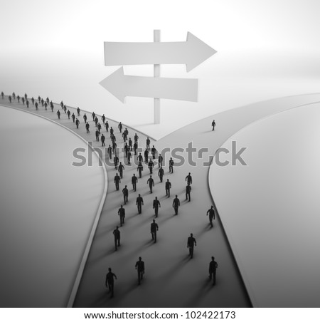 On the crossroads - tiny people choosing their pathway - stock photo