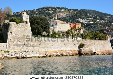 On the french riviera, villefranche sur Mer citadel, classiified historic monument, is a military architecture sheltering now administrative departments and museums. - stock photo