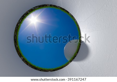 On the golf holes at noon 3d rendering. - stock photo
