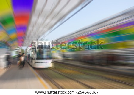 On the ground of the running train - stock photo
