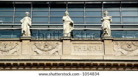 On the opera house fronton, 8 muses have been placed (Uranie, the ninth one was removed to respect the symetry of the building). Lyon - France - stock photo