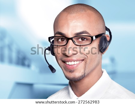 On The Phone, Service, Men. - stock photo