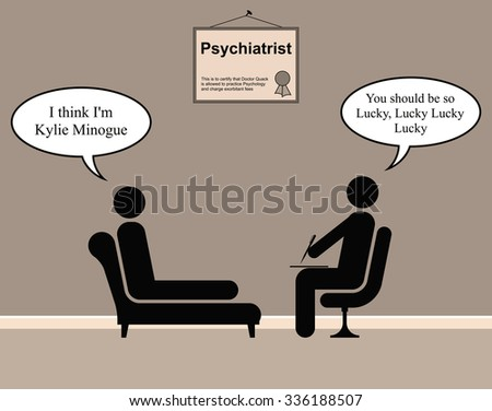 On the Psychiatrist couch with Doctor Quack and Kylie - stock photo