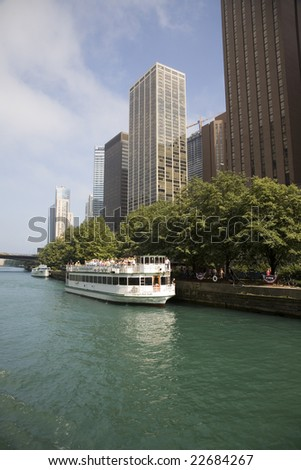 On the river in Chicago - stock photo