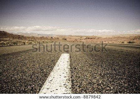 on the road  (retro color) - stock photo