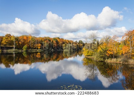 on the shore of a lake in autumn - stock photo