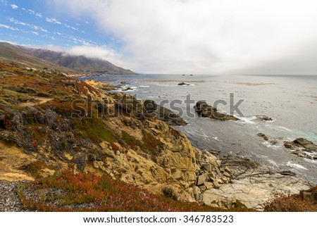 On the shore of Highway No. 1 in California, USA - stock photo
