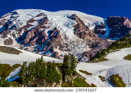 On the Side of Beautiful Snow-Capped Mount Rainier in Summer - stock photo