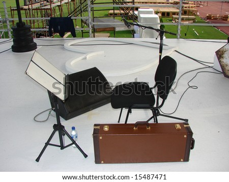 On the stage, preparing for the concert. - stock photo