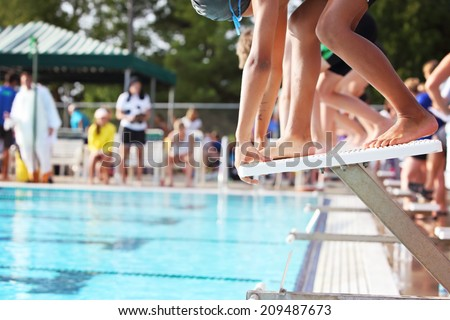 On the starting blocks at the beginning of a  race - stock photo