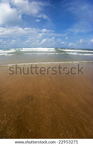On the tropical beach. Legian beach on Bali island. Indonesia - stock photo