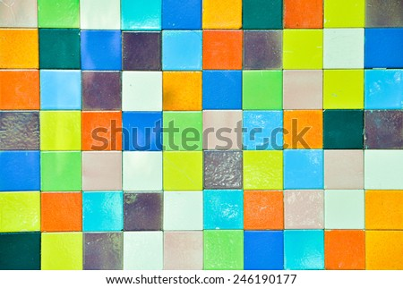 On the walls of colored tiles - stock photo