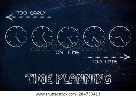 on time, too early and too late clocks: focusing on proper time planning - stock photo