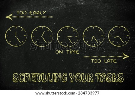 on time, too early and too late clocks: scheduling your tasks - stock photo