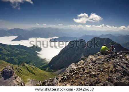 On tpo of Anie, in Pyrenees - stock photo