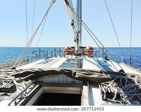 on yacht deck in calm Adriatic sea, Dalmatia, Croatia - stock photo