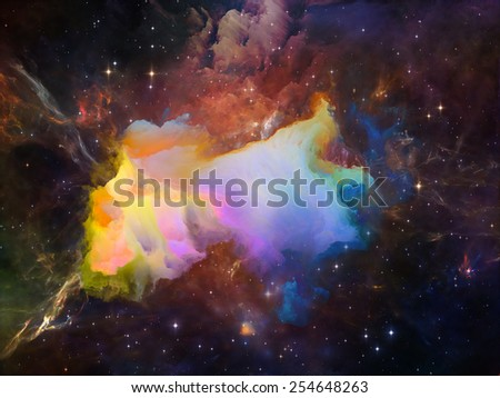 Once Upon a Space series. Composition of fractal clouds on the subject of Universe, cosmos, astronomy, science and education - stock photo