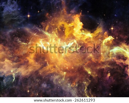 Once Upon a Space series. Composition of  fractal clouds to serve as a supporting backdrop for projects on Universe, cosmos, astronomy, science and education - stock photo