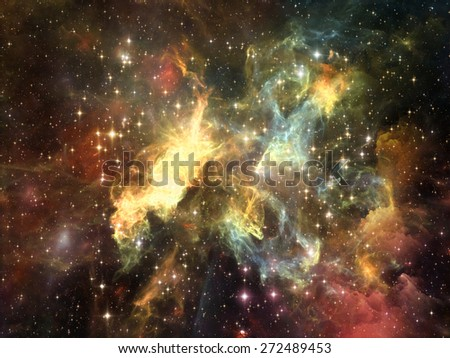 Once Upon a Space series. Graphic composition of fractal clouds to serve as complimentary design for subject of Universe, cosmos, astronomy, science and education - stock photo