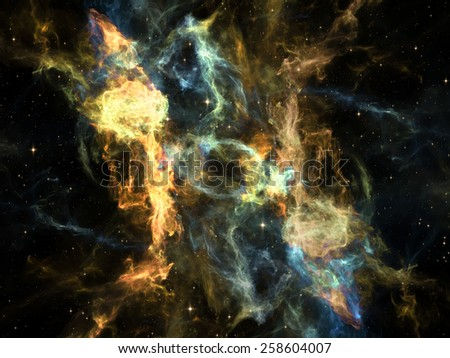 Once Upon a Space series. Visually attractive backdrop made of fractal clouds suitable as element for layouts on Universe, cosmos, astronomy, science and education - stock photo