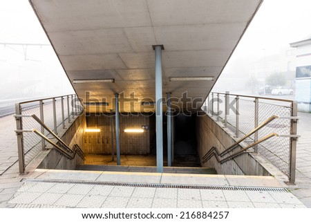 onder the train is there an Subway underpass - stock photo