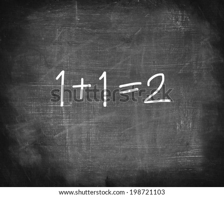 One add one on chalkboard , simple math addition   - stock photo