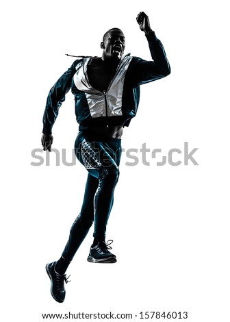 one african man  running sprinting jogging in silhouette studio isolated on white background - stock photo
