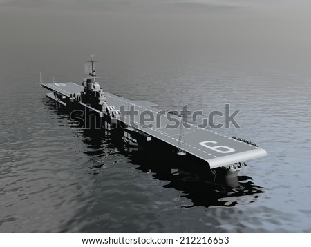 One aircraft carrier on the ocean by morning light - 3D render - stock photo