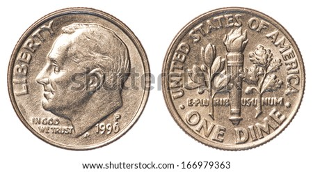 one american dime coin isolated on white background - stock photo