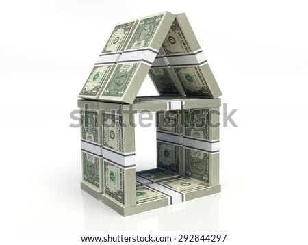 one American dollar bills. house of cards, stacked notes on a white background  - stock photo